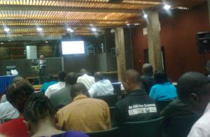 Calestous Juma delivers his lecture at KICC, Nairobi